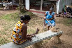 Kobiety wyplatają arkanę od kokosowych plew Zdjęcia Stock