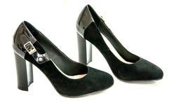 Kobiety wysokość heeled giemzowych buty na białym tle ; Obrazy Stock