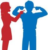 Kobiety yell mężczyzna słucha palce ucho dyskutują Zdjęcia Stock