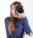 Kobiety z kamerą zdjęcie royalty free