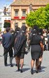 Kobiety z mantylą, Święty tydzień w Seville, Andalusia, Hiszpania Fotografia Royalty Free