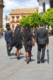 Kobiety z mantylą, Święty tydzień w Seville, Andalusia, Hiszpania Obraz Royalty Free