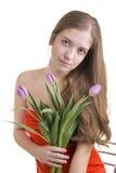 Kobiety z tulipanami w jej rękach Obrazy Stock