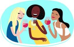 Kobiety z winem Zdjęcia Stock