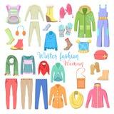 Kobiety zima Odzieżowa i akcesoria Inkasowi z butami, żakietami i pulowerami, Obraz Royalty Free