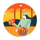 Kobiety zrywanie ono rozrasta się w jesień lesie ilustracji
