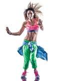 Kobiety zumba sprawności fizycznej ćwiczeń tancerza taniec Obraz Royalty Free