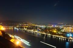 Koblenz τή νύχτα στοκ εικόνα με δικαίωμα ελεύθερης χρήσης
