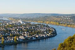 Koblenz. (also Coblenz in English and Coblence in English and French), German city in Rhineland-Palatinate, situated on both banks of the Rhine at its royalty free stock images