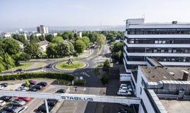 Koblenz Alemanha 09 07 A vista 2017 aérea da sede e da fábrica de Stabilus em Koblenz você pode igualmente ver construções da fáb Imagens de Stock Royalty Free