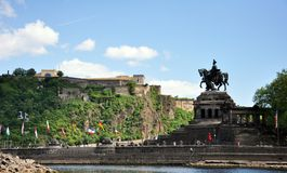 Koblenz City Germany historic monument German Corner where the rivers rhine and mosele flow together on a sunny day Royalty Free Stock Photography