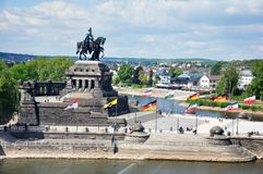 Koblenz City Germany 03.05.2011historic monument German Corner rivers rhine and mosele flow together on a sunny day stock photos