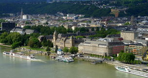 Koblenz. (Coblenz or Coblence) is a German city located on the Rhine River at its confluence with the Moselle River (Mosel), where the Deutsches Eck (German royalty free stock images