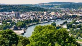 Koblenz and Deutsches Eck. View on the city koblenz, the river mosel and deutsches eck from the fortress ehrenbreitstein Stock Photo