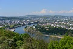 Koblenz Downtown seen from opposite site of Rhine Valley Royalty Free Stock Image