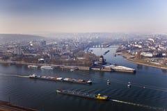 Koblenz, Duitsland Duitse Hoek Rine en van Moezel rivieren stock afbeelding
