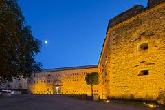 Koblenz Ehrenbreitstein Fortress At Night, editorial. KOBLENZ - JUNE 15: Ehrenbreitstein Fortress in Koblenz, Germany with night blue sky and illumination on Stock Photography