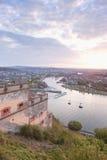 Koblenz,Ehrenbreitstein,View of Deutsches Eck with cable car cro Royalty Free Stock Photos