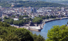 Koblenz and the German Corner. An elevated view of Koblenz and the German Corner (Deutsches Eck) where the rivers Rhine and Mosel meet Royalty Free Stock Photo