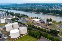 Koblenz GERMANY 21.07.2018 Aerial view of modern industrial sewage treatment plant beside the rhine river Stock Photography