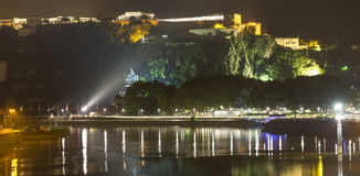 Koblenz germany and the deutsches eck at night Royalty Free Stock Photos