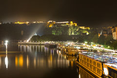 Koblenz germany and the deutsches eck at night Stock Photos