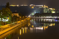 Koblenz germany and the deutsches eck at night Royalty Free Stock Image