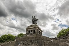 KOBLENZ, GERMANY, JUNE 30, 2017: the monumental equestrian statue of William I. KOBLENZ, GERMANY, JUNE 30, 2017: Tourists visiting the monumental equestrian Royalty Free Stock Image