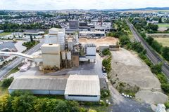 Koblenz GERMANY 21.07.2018 - Quickmix Concrete Batching Plant and construction material factory aerial view.  stock photography