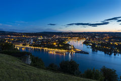 Koblenz Oldtown and Deutsches Eck At Night Stock Image