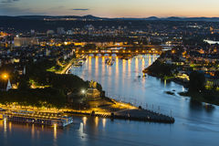 Koblenz Oldtown and Deutsches Eck At Night Royalty Free Stock Photography