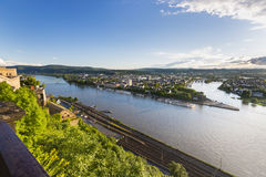 Koblenz Oldtown and Deutsches Eck Royalty Free Stock Images