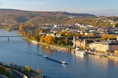 Koblenz på en solig morgon Arkivbilder