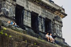 Koblenz, Rheinland-Pfalz, Germany, June 10, 2018: Young people are sitting on a monument to Wilhelm I on the Deutsches Eck and tak stock photos