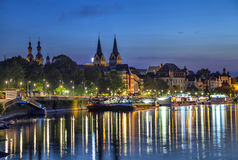 Koblenz skyline reflecting in river Moselle Royalty Free Stock Images