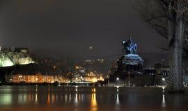 Koblenz-Stadt-Deutschland-Flut historische deutsche Ecke stockbild