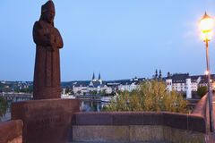 Koblenz ,View of statue of Archbishop and elector Balduin. On Balduin bridge with old town on river Mosel stock images