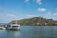 Koblenz where the Moselle joins the Rhine. Royalty Free Stock Image