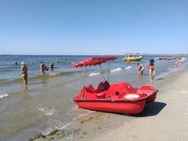 KOBLEVO, tourists on banana boat stock images