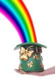 Kobold-Hut und Regenbogen Stockfoto