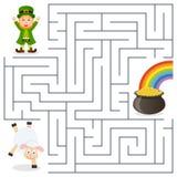 Kobold, Schaf, Topf-Goldlabyrinth für Kinder vektor abbildung