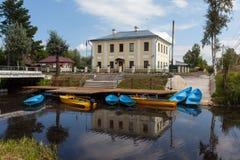 Kobona. Leningrad region. Russia. The building of the former guardhouse Ladoga channel battalion. Stock Image