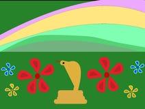 Kobra und einige Blumen unter einem Regenbogen Stockfotos