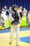 Kobudo competition between boys Royalty Free Stock Photo