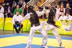 Kobudo competition between boys. ORENBURG, ORENBURG region, RUSSIA, 11 may, 2014 year. Kobudo competition between boys. Kobudo east martial art Royalty Free Stock Photography