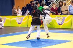 Kobudo competition between boys Royalty Free Stock Photos