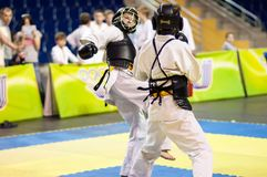 Kobudo competition between boys Stock Photography
