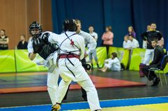 Kobudo competition between boys. Royalty Free Stock Image