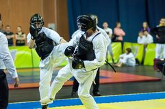 Kobudo competition between boys. Stock Images