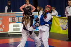 Kobudo competition between girls Royalty Free Stock Images